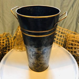 Large Black and Gold Metal Bucket